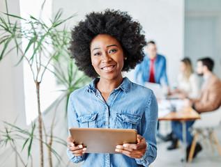 business businesswoman leader executiv meeting office tablet smiling portrait