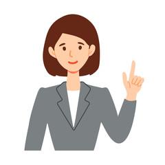 指差し案内するビジネススーツ女性のイラスト