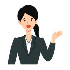 指差し案内するリクルートスーツ女性のイラスト