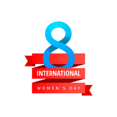 Womens Day greeting card with blue eight sign, red ribbon on white background. Vector illustration.