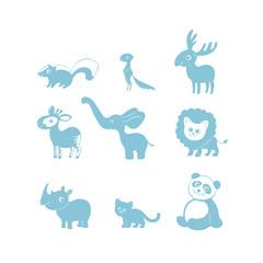 Vector illustration, set of cartoon cute funny animal silhouettes. Skunk, xerus, elk, okapi, elephant, lion, rhinoceros, cat, panda. Nursery pictures.