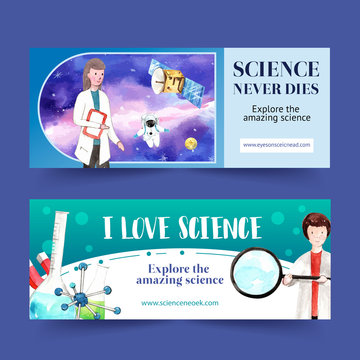 Science banner design with satellite, magnifying glass watercolor illustration.
