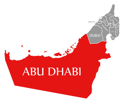 Abu Dhabi red highlighted in map of United Arab Emirates