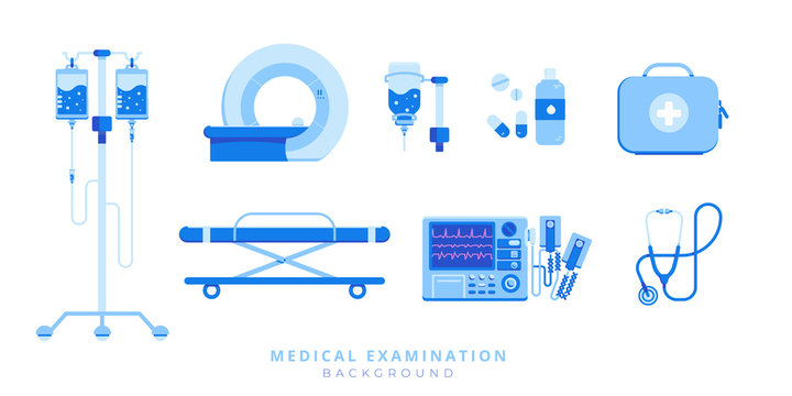 Emergency medical care equipment set of stretcher, defibrillator, injection, MRI, stethoscope, first aid kit isolated on white background