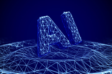 "Wireframe waves from touching water with 3D letters ""AI"". Concept of influence Artificial Intelligence on life, business and information technologies. Abstract vector illustration of Machine Learning."