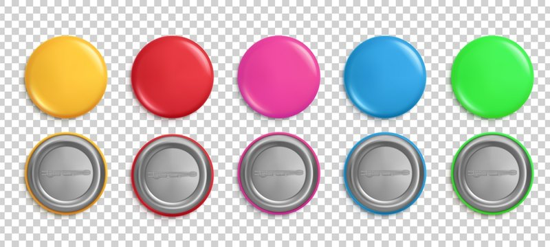 Pin buttons. Round badges, circle glossy colorful magnets. Pink, red and yellow realistic isolated vector pins mockup. Button pin template, blank label souvenir illustration