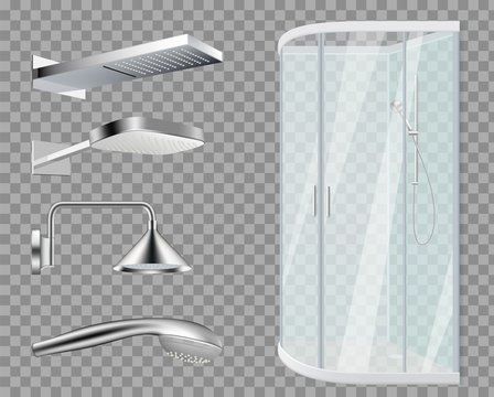 Shower stall. Shower Heads, realistic bathroom elements isolated on transparent background. Vector water metallic accessories set. Illustration shower bathroom, clean hygiene, purity hygienic tools