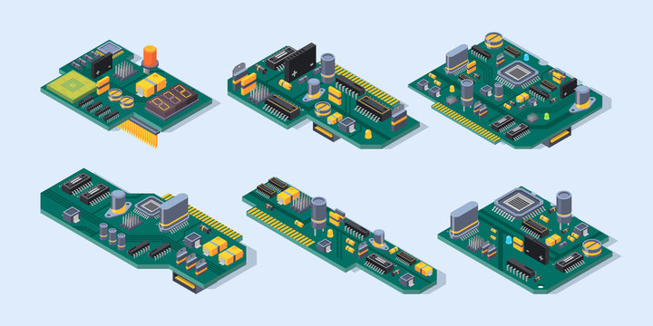 Motherboard isometric. Computer manufacturing small chip microscheme plate semiconductor electronic parts vector set. Motherboard isometric, equipment component microchip for hardware illustration
