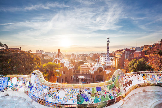 View on barcelone from the park at sunrise