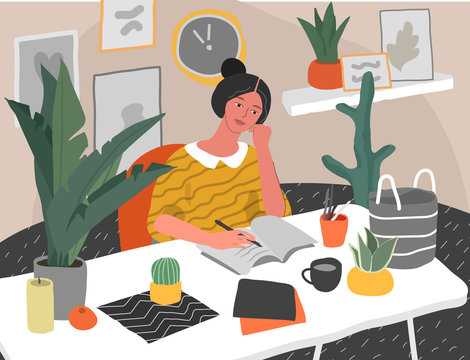 Young woman sitting at desk in scandinavian interior with homeplants and thinking what to write on white paper. Creativity crisis, go thought work start problem or learning. Cartoon vector