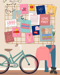 Stylish modern comfy apartment furnished. Scandinavian hygge style Interior. Feminine mood board, clothes, boots and bicycle. Flat vector illustration.