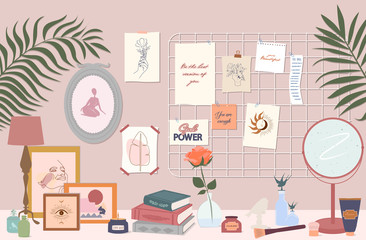 Stylish modern comfy apartment furnished. Feminine mood board, desk with cosmetics, books, home decorations and home plants. Scandinavian hygge style Interior. Flat vector illustration