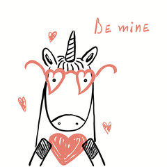 Deurstickers Illustraties Hand drawn vector illustration of a cute funny unicorn in glasses, holding a heart, with text Be mine. Isolated objects on white. Line drawing. Design concept for kids Valentines day card, invite.