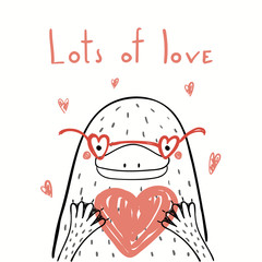 Keuken foto achterwand Illustraties Hand drawn vector illustration of a cute funny platypus in glasses, holding a heart, with text Lots of love. Isolated objects on white. Line drawing. Design concept kids Valentines day card, invite.