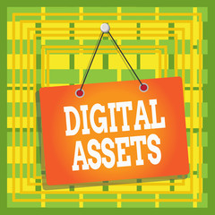 Text sign showing Digital Assets. Business photo text has value and can be owned but has no physical presence Colored memo reminder empty board blank space attach background rectangle