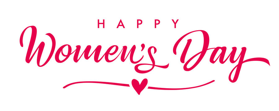 March 8, Happy Womens Day elegant calligraphy banner. Women's Day greeting card template with vector pink lettering and heart on white background