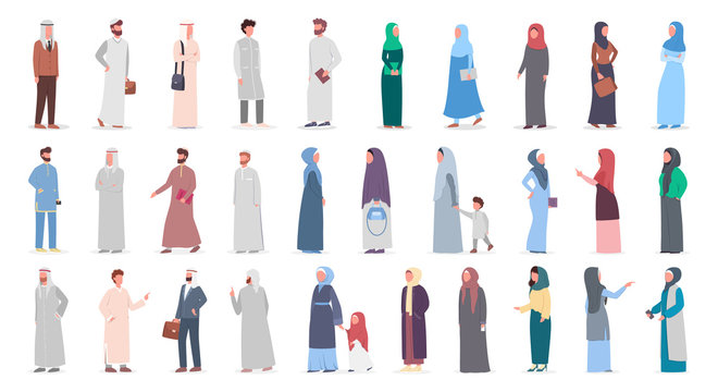 Big muslim people set. Arabian woman and man collection