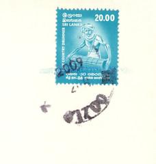 Briefmarke stamp Sri Lanka Country Drummer Trommler Musiker Music Musician 20 Mann Instrument 2009