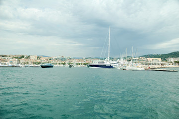 Yachts And Sail Boats Moored At The Port Of Cannes, France