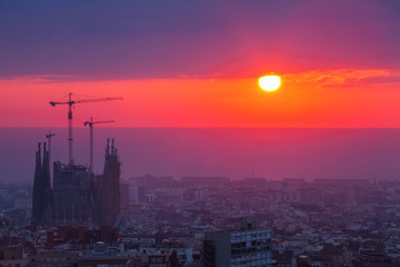Beautiful sunrise in Barcelona city