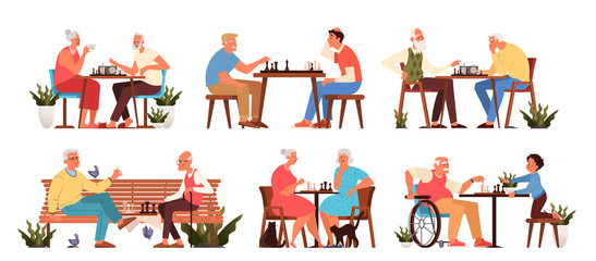 Old people play chess set. Elderly peope sitting at the table with chessboard.