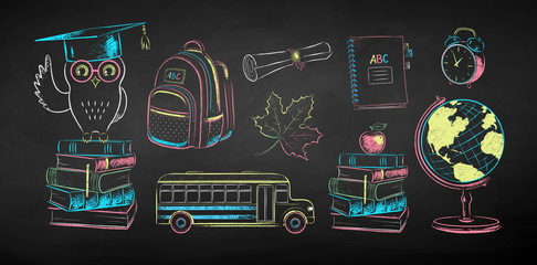 Chalk illustration set of education items