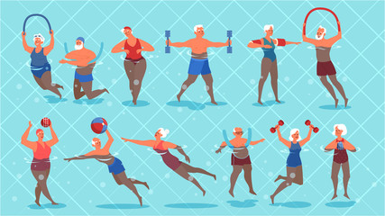 Set of old people doing exercise in swimming pool.