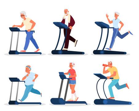 Old peoplein the gym. Seniors training on treadill. Fitness program