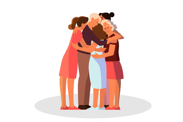 Women group hugging together. Female character support each other.