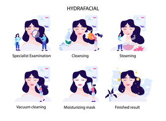 Hydrafacial procedure step. Modern cosmetology concept. Young woman