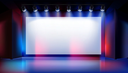 Large projection screen on the stage. Show in art gallery. Free space for advertising. Colorful background. Vector illustration.