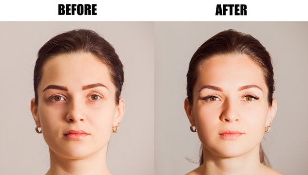 Portrait of beauty model before and after eyelash extension