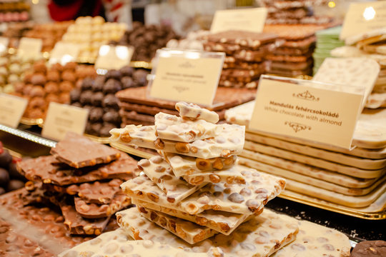 Chocolate assorted on the Christmas market. Christmas sweets and treats.