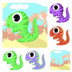 Cartoon Tyrannosaurus Rex Dinosaur Baby and Background Scenery Collection Cartoon Illustration Vector