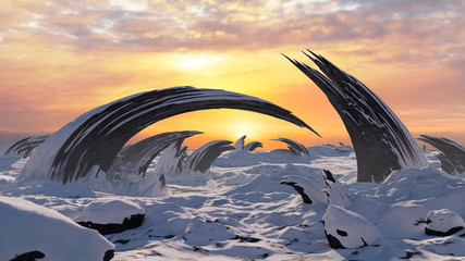 Wall Murals Salmon beautiful frozen landscape with strange rock formations