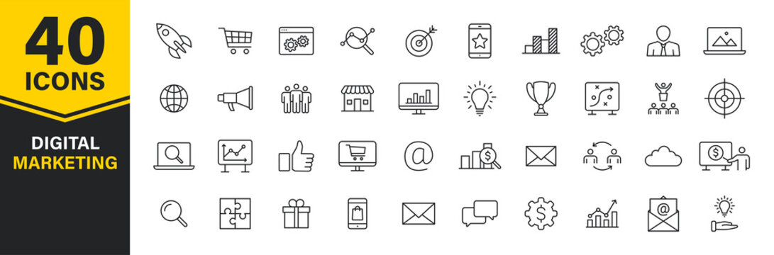 Set of 40 Digital Marketing web icons in line style. Social, networks, feedback, communication, marketing, ecommerce. Vector illustration.