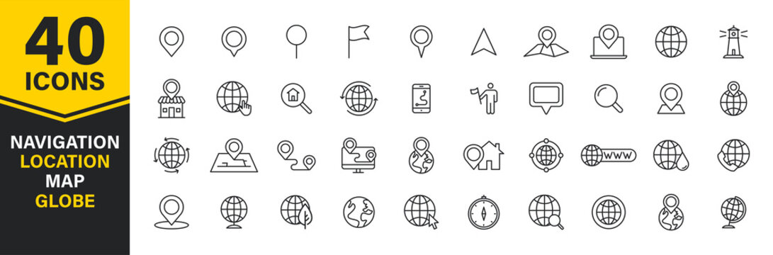 Set of 40 Navigation and location, map, globe web icons in line style. GPS, compass, global, marker, map, pointer. Vector illustration.