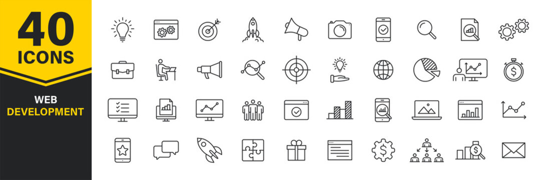 Set of 40 Web development web icons in line style. Marketing, analytics, e-commerce, digital, management, seo. Vector illustration.