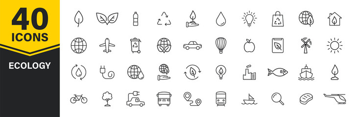 Set of 40 Ecology web icons in line style. Electric Car, Organic, environmental energy. Vector illustration.