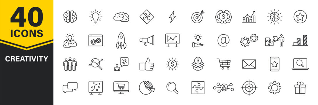 Set of 40 Creativity and Idea web icons in line style. Creativity, Finding solution, Brainstorming, Creative thinking, Brain. Vector illustration.