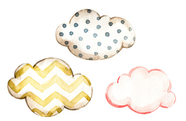 Watercolor set with pink yellow, blue polka dot watercolor clouds for decorative design. Isolated texture. Watercolour art illustration. Cartoon clouds collection. Nursery background. Watercolor paint