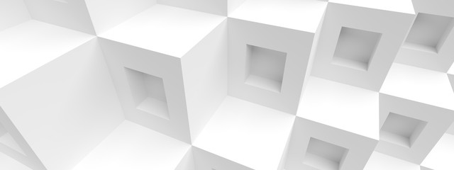 Fotobehang - Cube Panoramic Background. Abstract Graphic Design