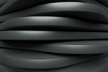 Fotobehang - Black Striped Wallpaper. Futuristic Graphich Design