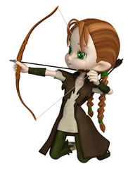 Cute toon Wood Elf archer girl with bow and arrows kneeling and taking aim at her target, 3d digitally rendered illustration