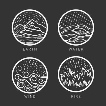 Collection of 4 element earth, water , wind , fire with white abstract circle line border sign on black background vector Illustration design