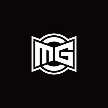 MG logo monogram with ribbon style circle rounded design template