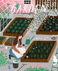 Garden and agriculture. Vector illustration of gardening and spring sowing in the garden, a woman plants sprouts and leaves. Drawing for poster, card or background.