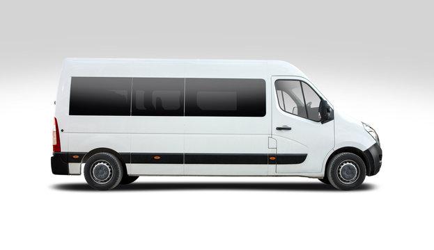 White minibus side view isolated on white