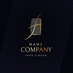 Brand luxury logo Curved wavy golden line in the shape of the letter f Trademark logo in the frame for business card branding Modern elegant logo template for luxury beauty company Vector brand icon