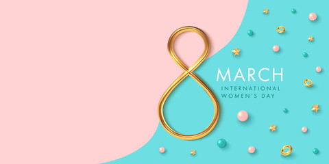 8 of march background with golden eight and decor in realistic vector design. Beautiful international women holiday promo. Romance greeting web banner layout template. Wall mural